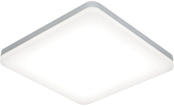 Noble Modern 30cm Square Flush LED Bathroom Ceiling Light Silver