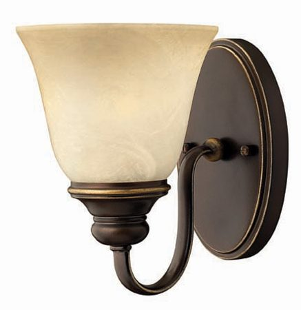 Hinkley Cello Antique Bronze Wall Light With Faux Alabaster Shade