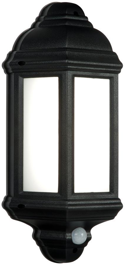 Halbury Traditional LED Outdoor PIR Half Wall Lantern Black