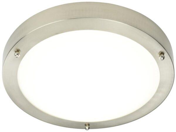 Portico Modern 30cm Flush LED Bathroom Ceiling Light Satin Nickel