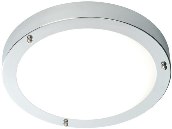Portico Modern 30cm Flush LED Bathroom Ceiling Light Chrome