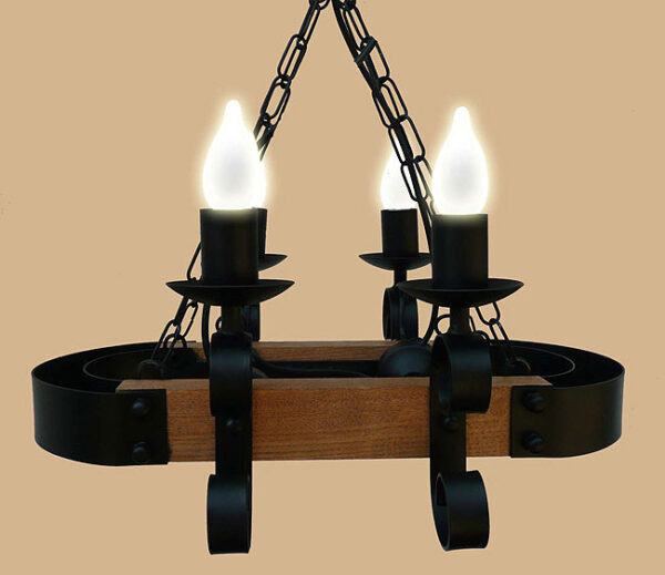 Wrought Iron and Wood 4 Light Chandelier UK Made