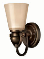 Hinkley Mayflower Olde Bronze Wall Light With Amber Glass Shade