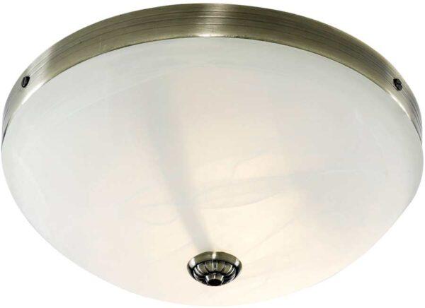 Windsor Art Deco Antique Brass 2 Lamp Alabaster Flush Ceiling Light