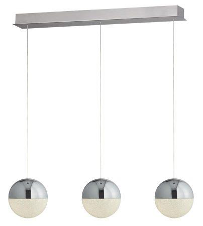 Marbles 3 Light LED Globe Ceiling Pendant Bar Chrome Crushed Ice
