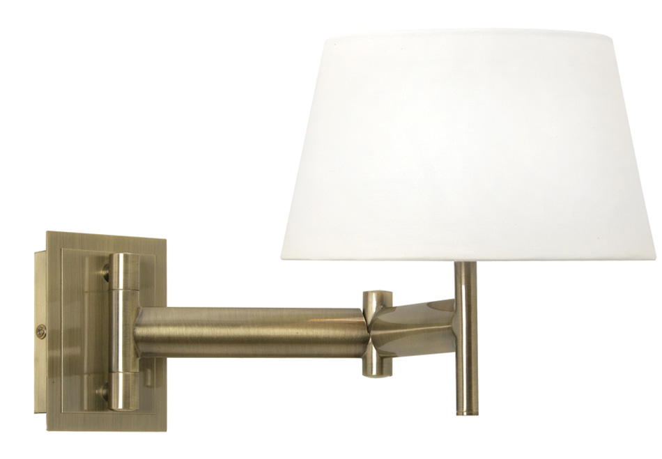 Bedside Wall Lights Switched : Antique Brass Pull Switch Bedside Swing Arm Wall Light 598 WB AB-S901/8