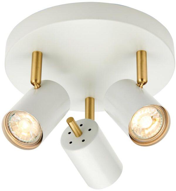 Gull Modern LED 3 Light LED Spotlight Plate White And Satin Gold