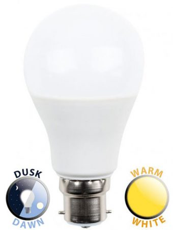 5W LED BC/B22 GLS Light Bulb Dusk Till Dawn Warm White 470 Lumen
