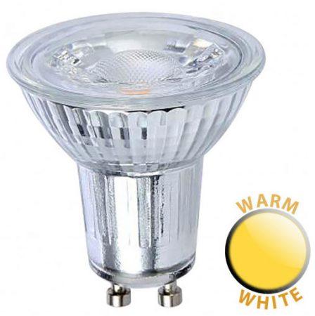 5W COB LED GU10 Glass Body Warm White 400 Lumen 38 Deg Beam