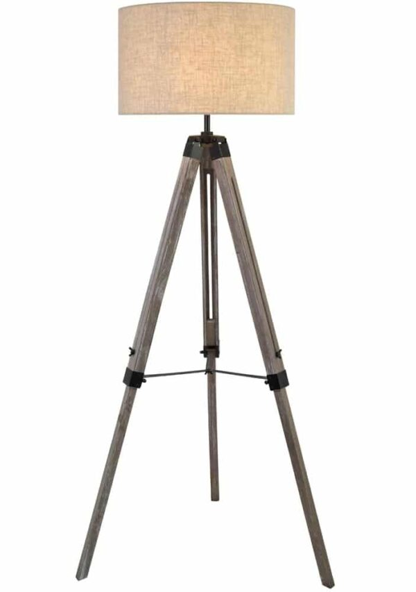 Tripod 1 light floor lamp in washed wood cream linen shade