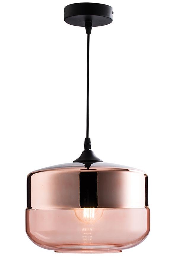Willis 1 Light Pendant Ceiling Light Polished Copper Cognac Glass