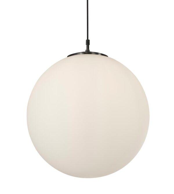 Atom opal white 30cm glass sphere pendant light in satin silver