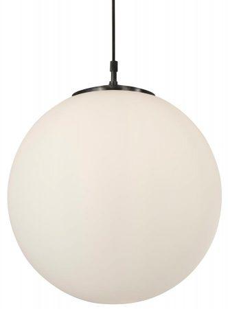 Atom Opal White 40cm Glass Sphere Pendant Light Satin Silver