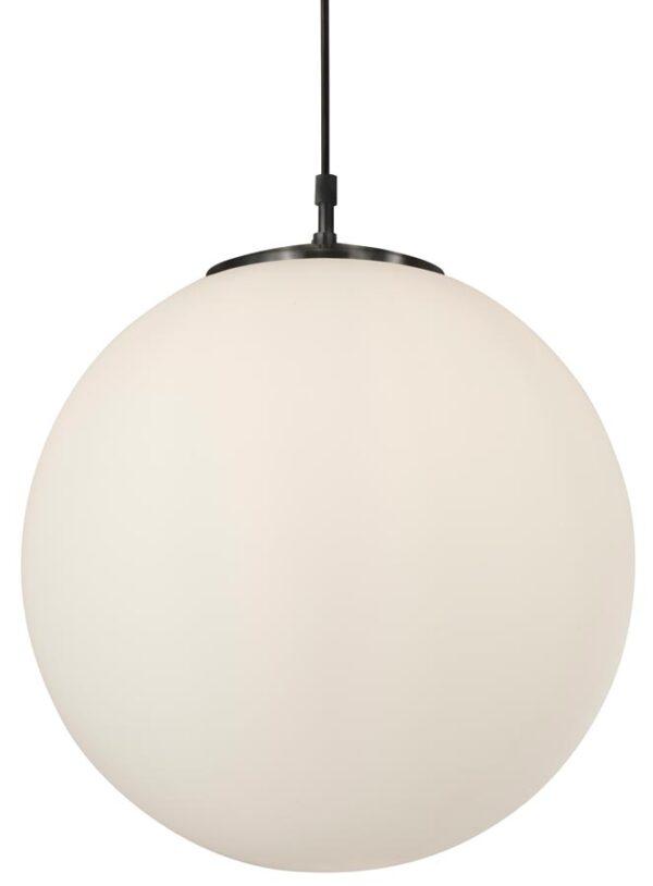 Atom opal white 40cm glass sphere pendant light in satin silver