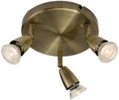 Amalfi Modern Round 3 Light Ceiling Spotlight Plate Antique Brass