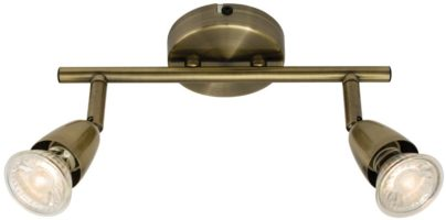 Amalfi Modern 2 Light Ceiling Spotlight Bar Antique Brass