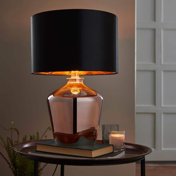 Waldorf 1 Light Copper Glass Table Lamp Black Shade