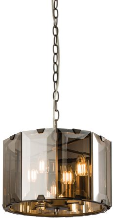 Clooney 4 Light Ceiling Pendant In Slate Grey With Smoked Glass