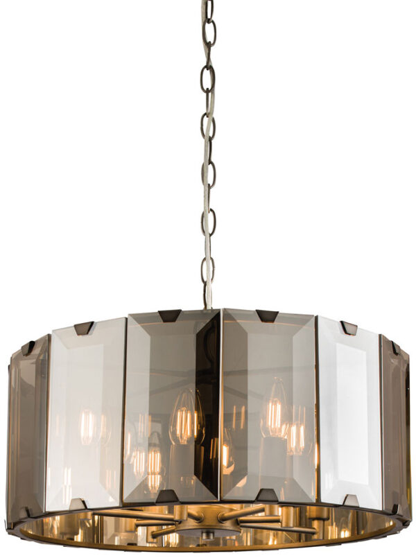 Clooney Large 8 Light Pendant In Slate Grey With Smoked Glass