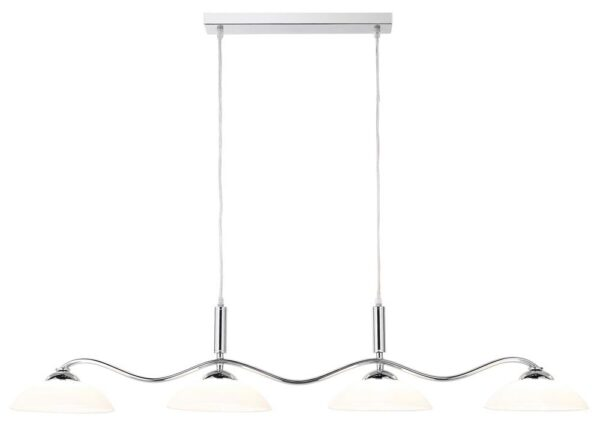 polished chrome 4 light wave pendant ceiling light bar frosted glass
