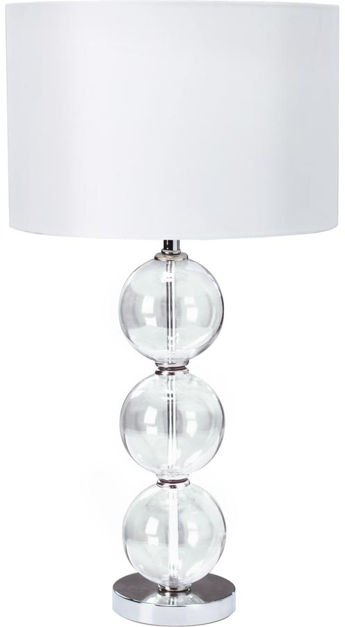 Chrome Stacked Glass Balls Table Lamp With White Shade