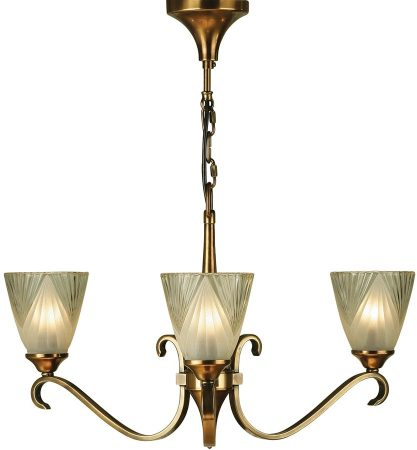 Columbia Traditional 3 Light Antique Brass Chandelier