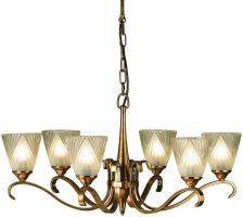 Columbia Traditional 6 Light Antique Brass Chandelier