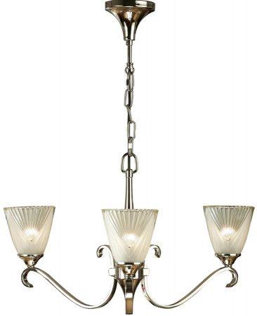Columbia Art Deco Style 3 Light Polished Nickel Chandelier