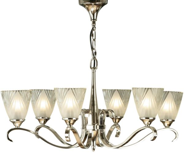 Columbia Art Deco Style 6 Light Polished Nickel Chandelier
