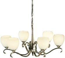 Columbia Traditional 6 Light Nickel Chandelier Opal Shades