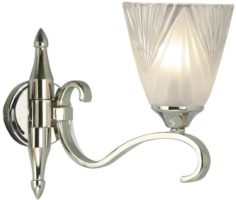 Columbia Art Deco Style Single Polished Nickel Wall Light