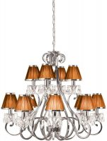 Oksana Large Nickel 12 Light Crystal Chandelier Chocolate Shades