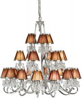 Oksana Large Nickel 21 Light Chandelier Chocolate Shades