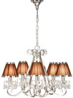 Oksana Nickel 5 Light Chandelier Crystal Drops Chocolate Shades