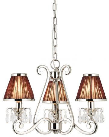 Oksana Nickel 3 Light Chandelier Crystal Drops Chocolate Shades