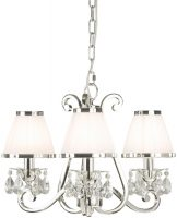 Oksana Nickel 3 Light Chandelier Crystal Drops White Shades