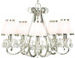 Oksana Nickel 5 Light Chandelier Crystal Drops White Shades
