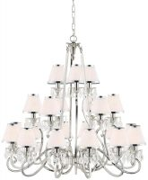 Oksana Large Nickel 21 Light Crystal Chandelier White Shades