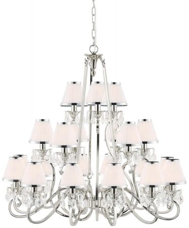 Oksana Large Nickel 21 Light Crystal Chandelier White Shades