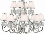 Oksana Large Nickel 12 Light Crystal Chandelier White Shades