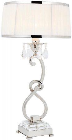 Oksana Nickel Medium Table Lamp Crystal Drops White Shade