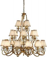 Oksana Large Brass 21 Light Chandelier Beige Shades
