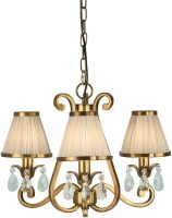 Oksana Brass 3 Light Chandelier Crystal Drops Beige Shades
