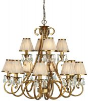 Oksana Large Brass 12 Light Crystal Chandelier Beige Shades