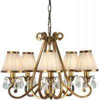 Oksana Brass 5 Light Chandelier Crystal Drops Beige Shades
