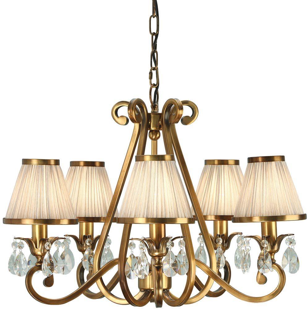 Oksana brass 5 light chandelier crystal drops beige shades 63522 oksana brass 5 light chandelier crystal drops beige shades arubaitofo Gallery