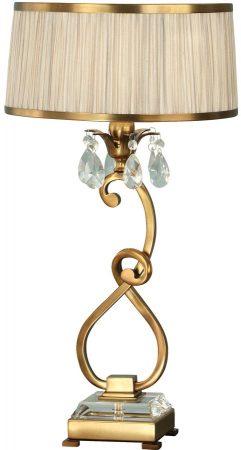 Oksana Brass Medium Table Lamp Crystal Drops Beige Shade
