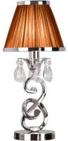 Oksana Nickel Small Table Lamp Crystal Drops Chocolate Shade