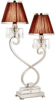 Oksana Nickel 2 Light Table Lamp Crystal Drops Chocolate Shades
