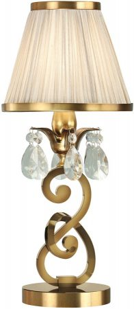Oksana Brass Small Table Lamp Crystal Drops Beige Shade